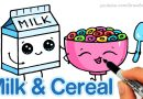 How to Draw Milk and Cereal Easy – Cartoon Food